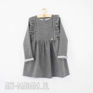 Sukienka z mini falbankam, falbanki, szara, dresowa