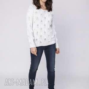 ażurowy sweterek, swe145 biały mkm, dekolt, plecy, odsłąnięte, dzianina, warkocz