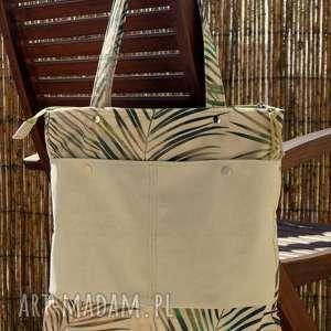 Torba na ramię happyart torba, wakacyjna, wzór botaniczny, palmy