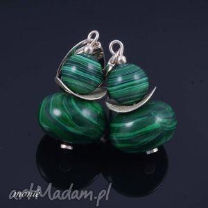 Na zielono, kolczyki z malachitu - ,kolczyki,srebro,biżuteria,malachit,
