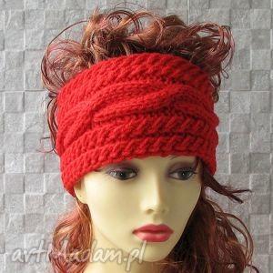 opaski szeroka opaska na głowę czerwona, kobieta, opaska, zima, akcesoria, moda, styl
