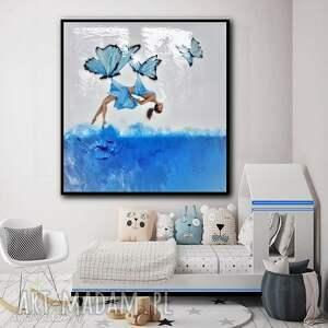 marzycielka - dla dziewczynki, obraz do salonu, błękity, obraz nowoczesny, dla