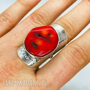 mychoice unikatowy pierścionek z koralowcem srebro 925