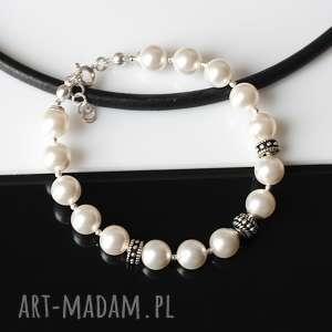 Perły Swarovskiego - bransoletka, perły, swarovski, srebro, bali, ślub