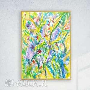 oprawiony rysunek, dżungla kolorowy szkic w ramce, obraz