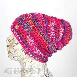 kolorowa czapka beanie wełna prezent, czapka, wełna, ciepła, siostra