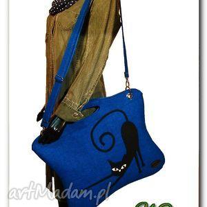 Oryginalna, uniwersalna niebieska torba, z aplikacją 3D, torebka, filc