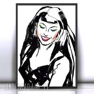 21x30 plakat pop art,biało czarny z dziewczyną,kobieta czarno