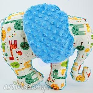 maskotki słoń żyrafy turkus, przytulanka, maskotka, słoń, słonik