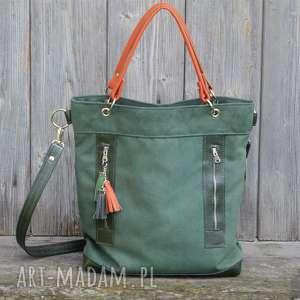 torba zielona plus skóra pomarańczowa, torebka, alkantara, skóra, kieszenie