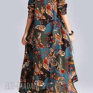 Prezent sukienka lniana w kwiaty absolutnie obłędna, len, kwiaty, prezent, bawełna