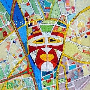 dziki w mieście akryl na płótnie, maska, mapa, płótno, akryl, faktura, ulice