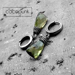 krople- kolczyki srebro i kwarc oliwkowy, modne kolczyki, nowoczesne z