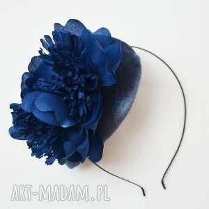 KWIATOWA DAMA, fascynator, toczek, szary, niebieski, kwiaty
