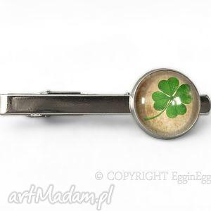 czterolistna koniczyna - spinka do krawata - zielona męska, prezent