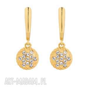złote kolczyki z zawieszkami swarovski® crystal sotho, orkągłe