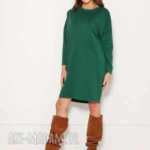 lanti urban fashion oversizeowa sukienka w typie bluzy, suk191 zielony, polski