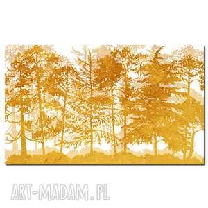 Obraz XXL DRZEWO 38 -120x70cm design na płótnie złoty żółty, obraz, drzewa, las