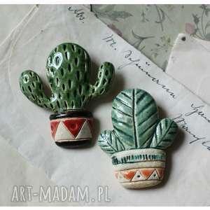 zestaw 2 broszek kaktusty (ceramika, broszka kaktus kwiat, doniczka)