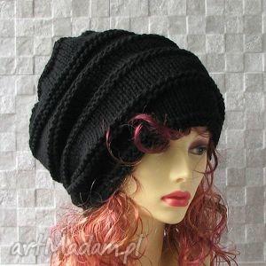 oversize - beanie czapka zimowa kolor czarna dredy - czapka, dredy, zima, oversized