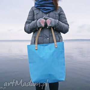 shopper bag - niebieska, shopper, torba, modna