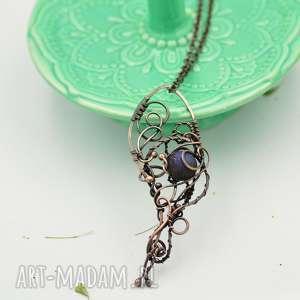 dark moon - naszyjnik wire wrapping z wisiorem, naszyjnik z wisiorem, wisior