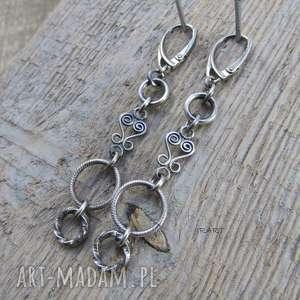 Kolczyki długie z kołami, srebro, kolczyki, oksydowane