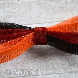 trójkolowa kokarda, fascynator, czerwony, brąz, pomarańczowy