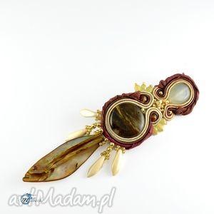 multanka brązowa broszka w stylu tribal, boho, broszka, przypinka