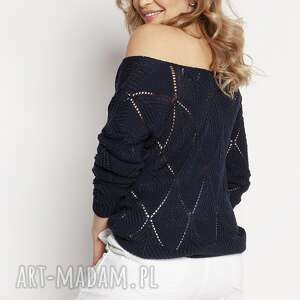 ażurowy granatowy sweter, swe231 granat mkm, damski sweterek
