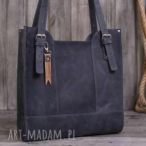 Prezent Ręcznie robiona skórzana torebka szara, skórzane torby, torebki