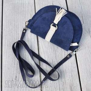 hand-made mini skórzana torebka dla dziewczynki - granatowa