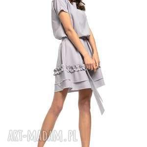 sukienka z ozdobną falbanką na spódnicy, t267, szary, elegancka