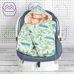kocyk do fotelika samochodowego pawie pióra - niemowlę, podróż, fotelik