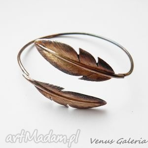Bransoletka srebrna - Brązowe pióra, bizuteria, srebro, bransoletki