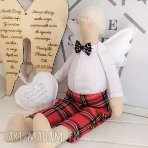 ręcznie wykonane lalki anioł tilda na chrzest szkocka krata