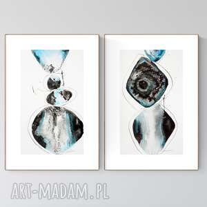 zestaw 2 grafik 30x50 cm wykonanych ręcznie, abstrakcja, elegancki minimalizm