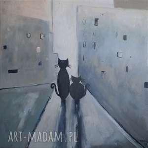 MIASTO KOTÓW III-obraz akrylowy formatu 35/35 cm, koty, akryl, domki, obraz,