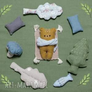 hand-made maskotki zestaw leśne zwierzątka-niedźwiedź kamczacki