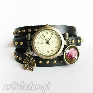bransoletka, zegarek - retro lato czarny, nity, skórzany