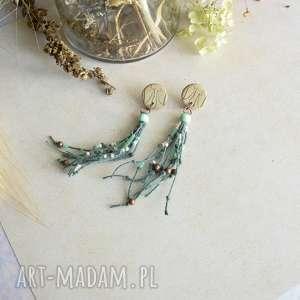 Kolczyki boho z odciskiem liścia sirius92 boho, wiszące kolczyki