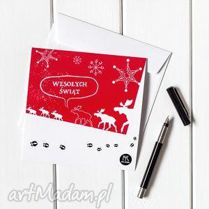 kartki autorska kartka świąteczna - łosie, kartka, pocztówka, życzenia, święta