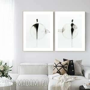 zestaw 2 grafik 50x70 cm wykonanych ręcznie, grafika czarno-biała, abstrakcja