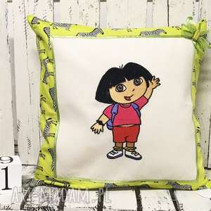 Poduszka z haftem 40x40cm DORA, dora, poduszka-dora, poduszka-dziecięca