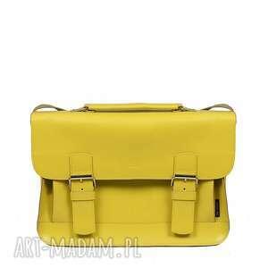 na ramię skórzana torebka żółta listonoszka 00-02-0606-s56, torebka