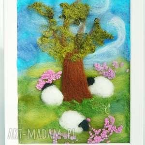 pod starym dębem - rękodzieło, dekoracja, owieczka, prezent