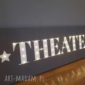 Świecący obraz LED z napisem THEATER prezent dla miłośnika teatru sztuki dekoracja