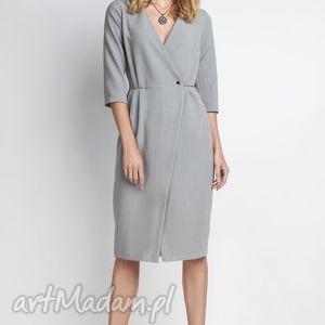 Sukienka, SUK131 szary, minimalizm, casual, seksowna, kobieca, sukienka, dekoltv