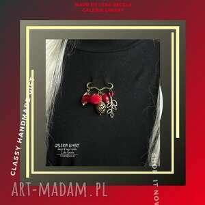 broszka niezwykła na agrafce czerwono-złota oryginalna handmade dla miłośniczki