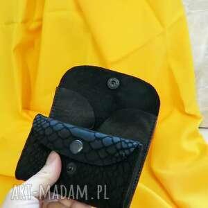 portfele skórzana portmonetka mini czarna, skórzana